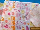 綿ダブルガーゼ生地おもちゃ・オフ白×ピンク