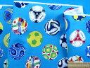 綿プリントオックス生地サッカーボール水×オフ白