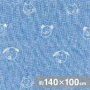 【手描き/ブルー】しっとり柔らかな二重織ガーゼ生地(薄手)約140x100cm