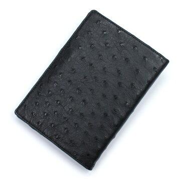カードケース レディース メンズ オーストリッチ 駝鳥革 レザー 革 薄型 大容量 ポイントカード入れ クレジットカード入れ カードホルダー カード収納 黒 ブラック