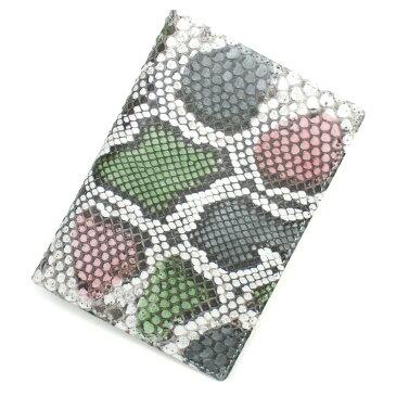 カードケース レザーカードケース 薄型 大容量 パイソン 蛇革 ポイントカード入れ クレジットカード入れ カードホルダー カード収納 大量収納 パスポートサイズ 日本製 柄 P02 グレー ピンク グリーン