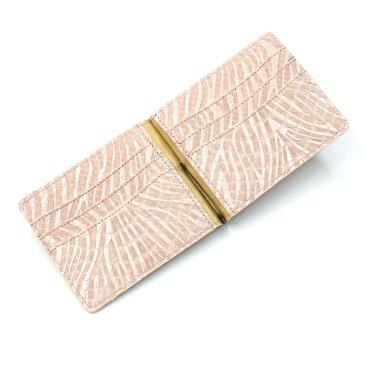 札ばさみ マネークリップ 財布 折り財布 サイフ さいふ レディース 薄型 蛇革 パイソン革 ヘビ革 無双仕様 カード収納 簡単収納 日本製 柄 ウェーブ ピンク