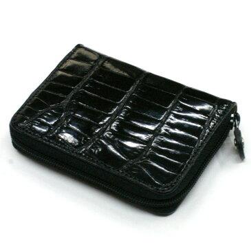 本革 コインケース 小銭入れ クロコダイル革 ワニ革 クロコ 革 メンズ レディース 小さい レザー 財布 サイフ カードケース ギフト グレージング ブラック