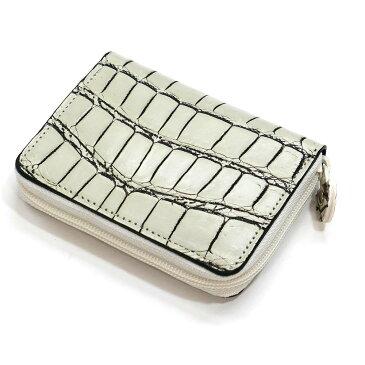 コインケース 小銭入れ 本革 クロコダイル革 ワニ革 クロコ 革 メンズ レディース 小さい レザー 財布 サイフ カード カードケース ギフト プレゼント ホワイト 2