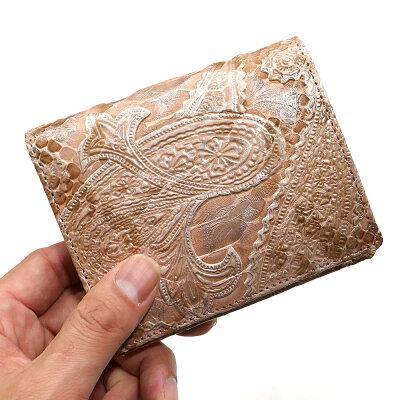 個性的で美しい模様が魅力の蛇革(パイソン)財布 NAKAMURA 二つ折り財布 ペイズリー柄