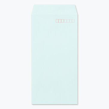 ハート パステルカラー封筒 長3 透けないコーティング パステル ブルー  80g/m2 ヨコ貼 枠入 400枚 nr0385