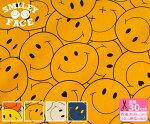 【SMILEYFACE】ビッグスマイリー(綿麻キャンバス)スマイリーがぎゅーっと詰まったデザイン【生地・布】SMIF-02