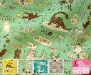 NEWらくがきキョウリュウ ダブルガーゼ(miyako kawaguchiデザイン)絵柄がちいさくなりました。Wガーゼ コットン100% 110cm巾【生地・布】MIYAKO-041W
