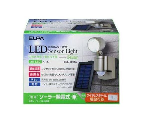 ELPAセンサーライト屋外LEDソーラー人感/防雨センサーライト[LED×1灯]防雨防犯ライESL-301SL