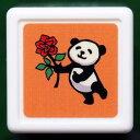 パンダミニ浸透印 スタンプ はんこ D:0543-006 パンダ ぱんだ PANDA 薔薇 バラ プレゼント お礼 オレンジ 橙色 こどものかお KODOMO N…