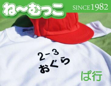 フロッキーネーム特大◆ぱ行◆ 2枚入 【日本製】ワッペン ひらがな 名前シール ゼッケン 体操着 運動会