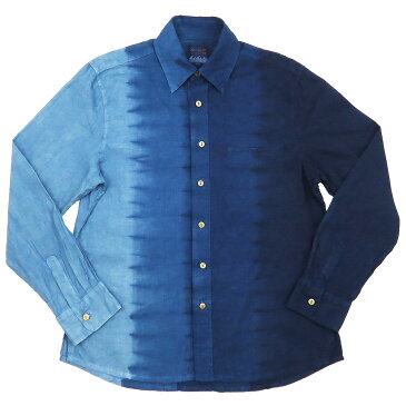 琉球藍染 長袖シャツカラー かりゆしウェア 縦段染め