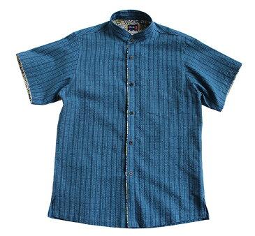<限定品>紅型×阿波正藍しじら織りかりゆしシャツ【縹細縞格子】スタンドカラー