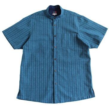 <限定品>阿波正藍しじら織りかりゆしシャツ【縹細縞格子】スタンドカラー