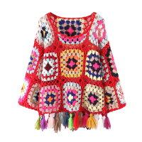秋新作レディースかぎ編みセーターニット透け感長袖レッドブラックホワイトフリーサイズ