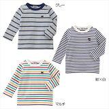 (メール便可)【ミキハウス】 ダブルB ボーダー長袖Tシャツ(70cm-150cm)(MD63-5212-674)[MIKIHOUSEの子供服](男の子/女の子)(キッズ)[ロンT]【ボーダー】