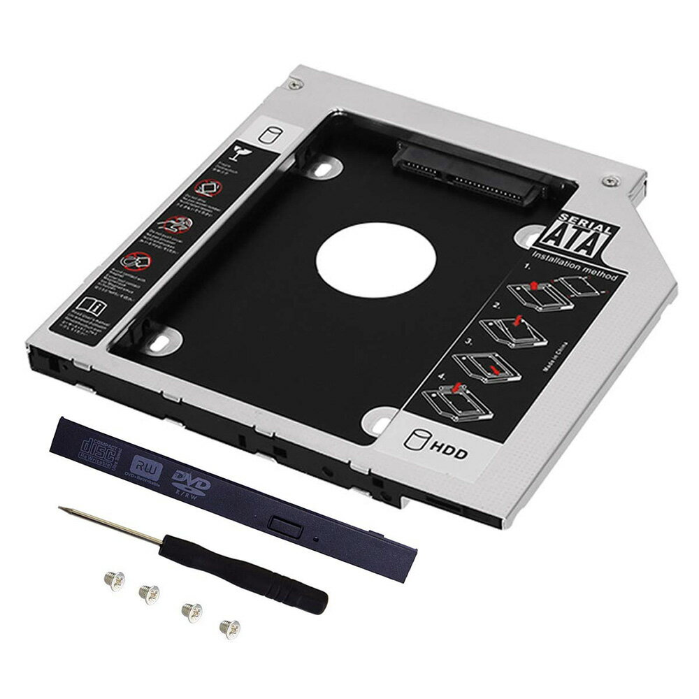 12.7mm 9.5mm ノートパソコン ノートPC ドライブ マウンタ セカンド 2.5インチ SATA/HDD/SSD マウンタ CD/DVD CD ROM HDD CADDY NPC tecc-25mount【メール便発送】画像