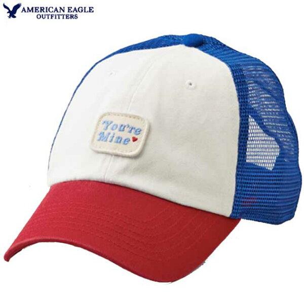 アメリカンイーグルキャップレディースキャップcapメッシュキャップ帽子アジャスターハートアメカジ フリーサイズ ストーンレッドダ