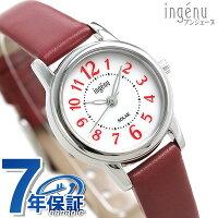 セイコー アルバ アンジェーヌ ソーラー レディース 腕時計 AHJD404 SEIKO ALBA ingenu ホワイト×レッド 革ベルト 時計