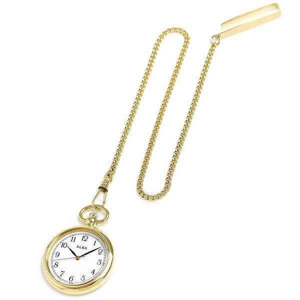 【当店なら!さらにポイント+4倍】 セイコー アルバ ポケットウォッチ 懐中時計 AQGK444 SEIKO ALBA ホワイト×ゴールド 時計【あす楽対応】