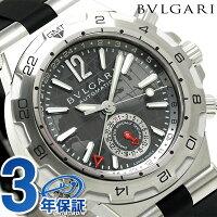 ブルガリBVLGARIディアゴノ42mm自動巻き腕時計DP42C14SVDGMTグレー×ブラック
