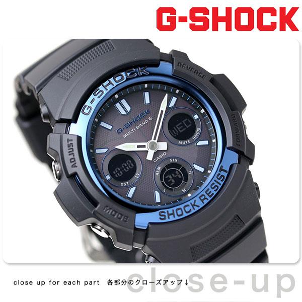 AWG-M100A-1AER g-shock スタンダードモデル 電波 ソーラー アナデジ ブラック×ブルー GSHOCK G-SHOCK カシオ