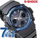 G-SHOCK 電波 ソーラー CASIO AWG-M100A-1AER アナデジ 腕時計 カシオ Gショック スタンダードモデル ブラック × ブルー 時計【あす楽対応】