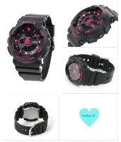 Baby-Gレディース腕時計クオーツBA-111-1ADRカシオベビーGオールブラック×ピンク