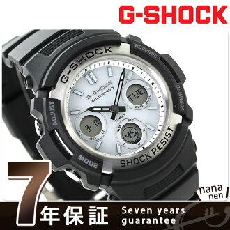 AWG-M100S-7AER g-激波太陽能手錶凱西歐 G 休克男式手錶黑白色 x
