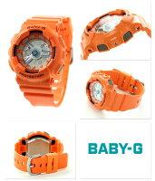 Baby-Gクオーツレディース腕時計BA-110SN-4ADRカシオベビーGオレンジ