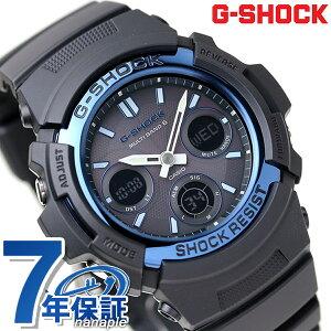 【今ならポイント最大32倍】 G-SHOCK 電波 ソーラー CASIO AWG-M100A-1AER アナデジ 腕時計 カシオ Gショック スタンダードモデル ブラック × ブルー 時計【あす楽対応】