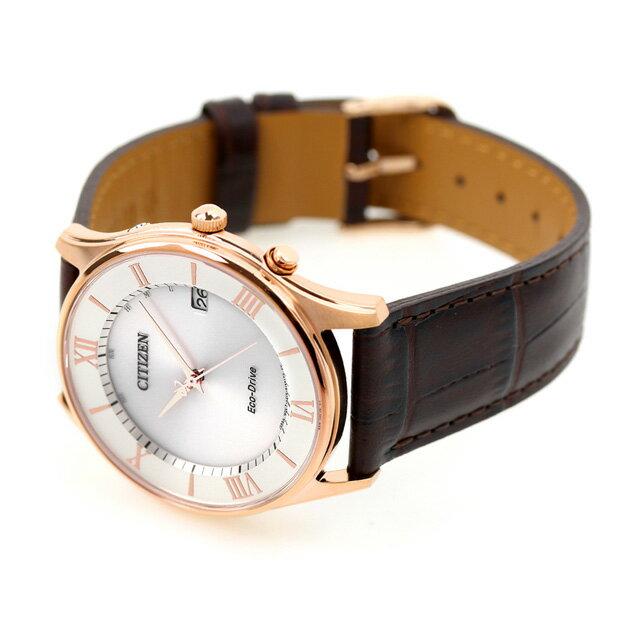シチズン 薄型 電波ソーラー メンズ 腕時計 AS1062-08A CITIZEN シルバー×ダークブラウン 時計