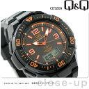 シチズン Q&Q 電波ソーラー コンビネーション ソーラーメイト MD06-315 CITIZEN メンズ 腕時計 オールブラック×オレンジ