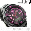 シチズン Q&Q 電波ソーラー コンビネーション ソーラーメイト MD06-325 CITIZEN メンズ 腕時計 オールブラック×ピンク