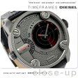 DZ7293 ディーゼル メンズ 腕時計 ダディ リトル デュアルタイム ガンメタル×ブラック レザーベルト DIESEL