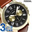 フォッシル グラント 46mm クロノグラフ メンズ 腕時計 FS5297 FOSSIL ブラック×ダークブラウン