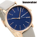 イノベーター エンケル 38mm メンズ 腕時計 IN-0007-20 Innovator 革ベルト ダークブルー×グレー 時計【あす楽対応】