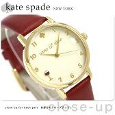 ケイトスペード メトロ 34mm クオーツ レディース 腕時計 KSW1188 KATE SPADE クリーム×ワインレッド