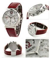 セイコールキア腕時計ソーラーレディースクロノグラフホワイト×レッドレザーベルトSEIKOLUKIASSVS017