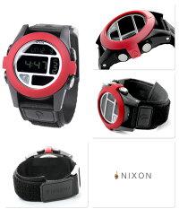 ニクソンバハ腕時計A489LEDフラッシュライトオールブラック/レッドnixonA489760