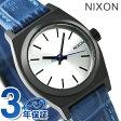 ニクソン A5092131 nixon スモール タイムテラー レザー レディース 腕時計 ブラック/ブルーゲーター【あす楽対応】