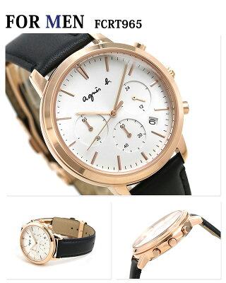 ペアウォッチ アニエスベー 時計 クロノグラフ シルバー×ブラック 革ベルト agnes b. メンズ レディース 腕時計 サム 40mm 32mm 画像1