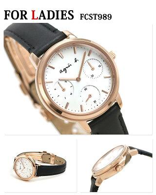 ペアウォッチ アニエスベー 時計 クロノグラフ シルバー×ブラック 革ベルト agnes b. メンズ レディース 腕時計 サム 40mm 32mm 画像2