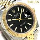 【10000円OFFクーポン 4日20:00?9日01:59まで】ロレックス ROLEX デイトジャスト 41 メンズ 腕時計 126333 ブラック×ゴールド 新品