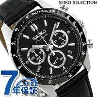 セイコー クロノグラフ 42mm 革ベルト メンズ 腕時計 SBTR021 SEIKO ブラック 時計【あす楽対応】