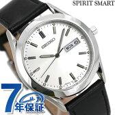 セイコー スピリット スマート 限定モデル メンズ 腕時計 SCEC023 SEIKO SPIRIT SMART クオーツ シルバー×ブラック レザーベルト【あす楽対応】