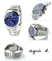 アニエスベークロノグラフクオーツペアウォッチメンズFCRT979agnesb.腕時計ネイビー