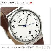 スカーゲン クラシック メンズ 腕時計 SKW6082 SKAGEN クオーツ ホワイト×ブラウン レザーベルト【あす楽対応】