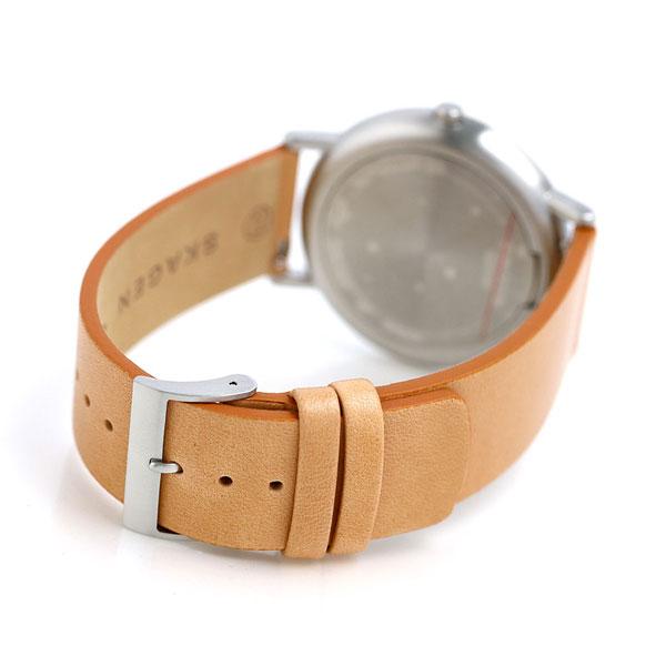 スカーゲン メンズ シグネチャー 40mm 革ベルト 腕時計 SKW6373 SKAGEN グレー×ライトブラウン 時計