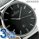 スカーゲン 時計 メンズ クオーツ SKW6104 ブラック レザーベ...